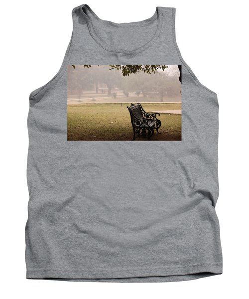 Tank Top featuring the photograph A Wrought Iron Black Metal Bench Under A Tree In The Qutub Minar Compound by Ashish Agarwal