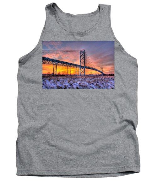 Ambassador Bridge Sunrise 1-16-2012  Detroit Mi Tank Top by Nicholas  Grunas