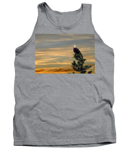 Tank Top featuring the photograph American Eagle Sunset by Dan Friend