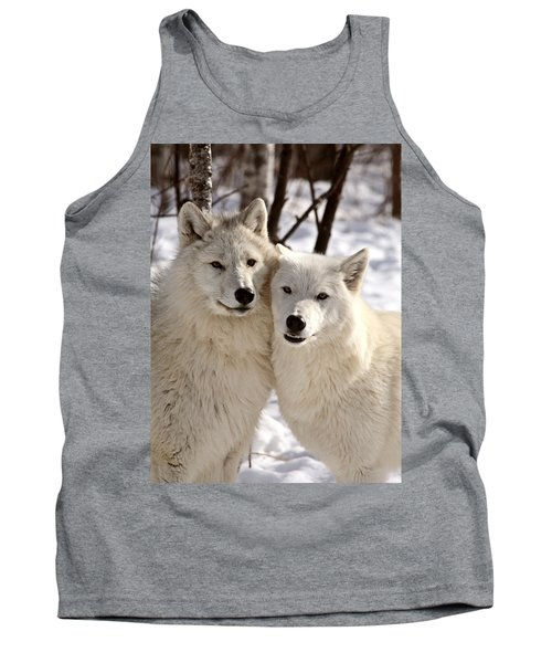 Arctic Wolves Close Together In Winter Tank Top