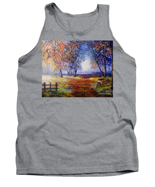 Autumn Wheelbarrow Tank Top by Lou Ann Bagnall