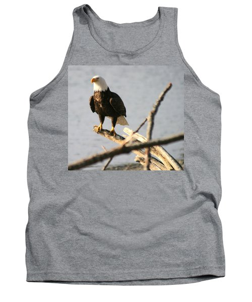 Tank Top featuring the photograph Bald Eagle On Driftwood by Kym Backland