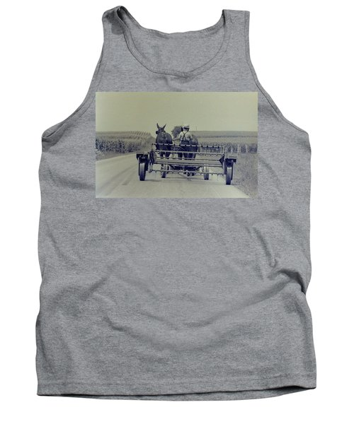 Tank Top featuring the photograph Boy Heads To Work by Mike Martin