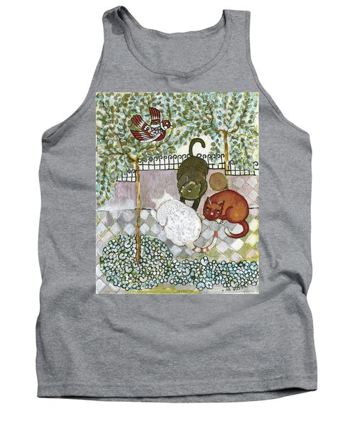 Brown And White Alley Cats Consider Catching A Bird In The Green Garden Tank Top