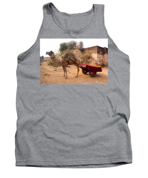 Tank Top featuring the photograph Camel Yoked To A Decorated Cart Meant For Carrying Passengers In India by Ashish Agarwal