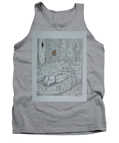 Canine Skull And Butterfly Tank Top