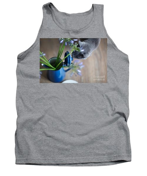 Cat And Flowers Tank Top