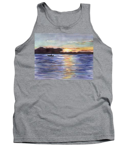 Tank Top featuring the painting Chesapeake Dusk Boat Ride by Clara Sue Beym