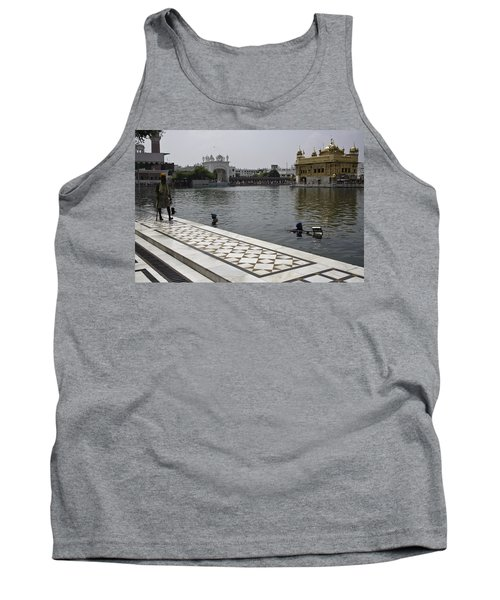 Tank Top featuring the photograph Clearing The Sarovar Inside The Golden Temple Resorvoir by Ashish Agarwal