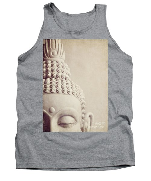Cropped Stone Buddha Head Statue Tank Top by Lyn Randle