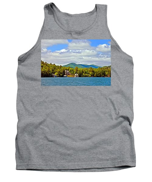 Distant Lake View In Spring Tank Top