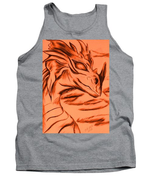 Tank Top featuring the drawing Dragon In Color by Maria Urso