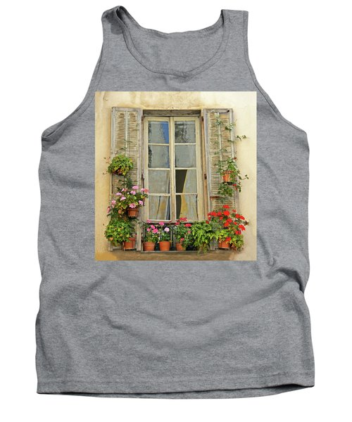 Tank Top featuring the photograph Flower Window Provence France by Dave Mills