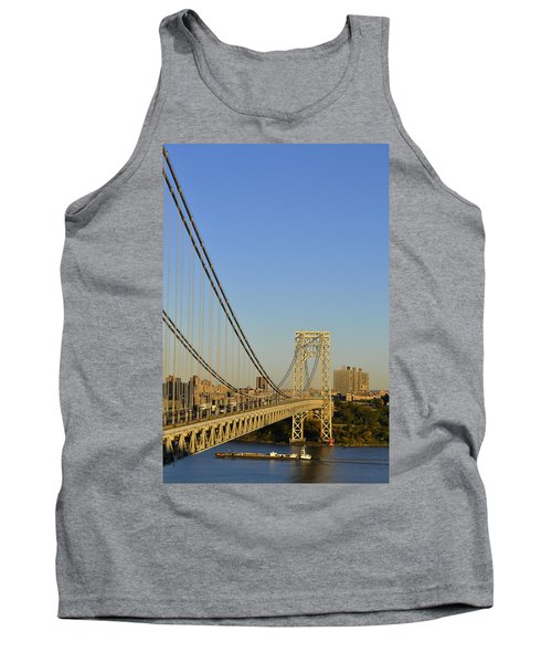 George Washington Bridge And Boat Tank Top by Zawhaus Photography