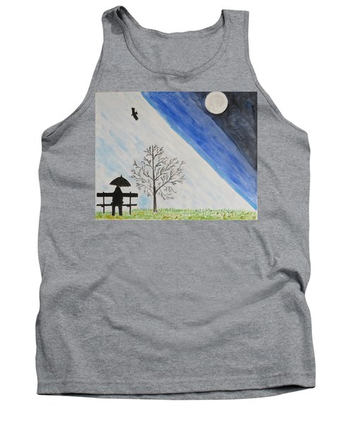 Tank Top featuring the painting Girl With A Umbrella by Sonali Gangane