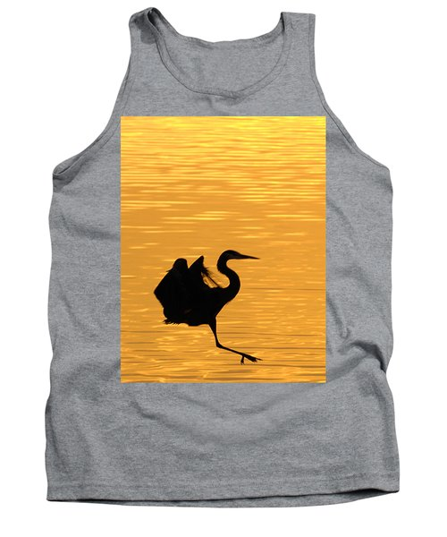 Tank Top featuring the photograph Great Blue Heron Landing In Golden Light by Randall Branham