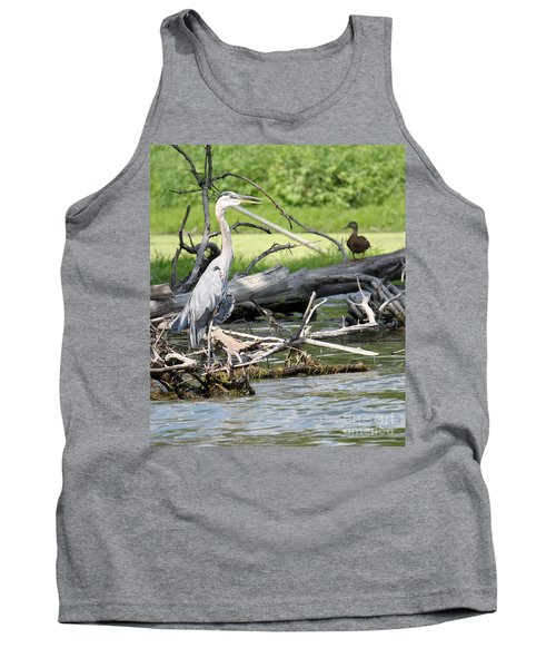 Tank Top featuring the photograph Heron And Mallard by Debbie Hart