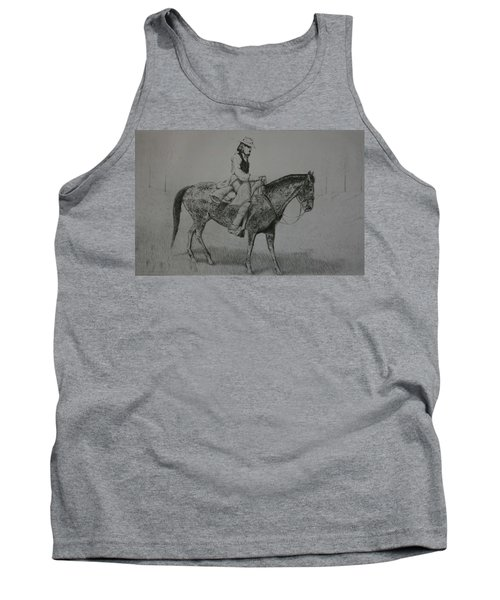 Tank Top featuring the drawing Horseman by Stacy C Bottoms