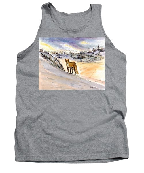 Tank Top featuring the painting Jersey Shore Fox by Clara Sue Beym