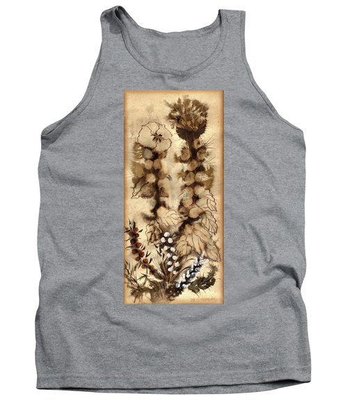 Kotsim Thorny Desert Plants In Brown Flowers Leaves Monochrome White   Tank Top