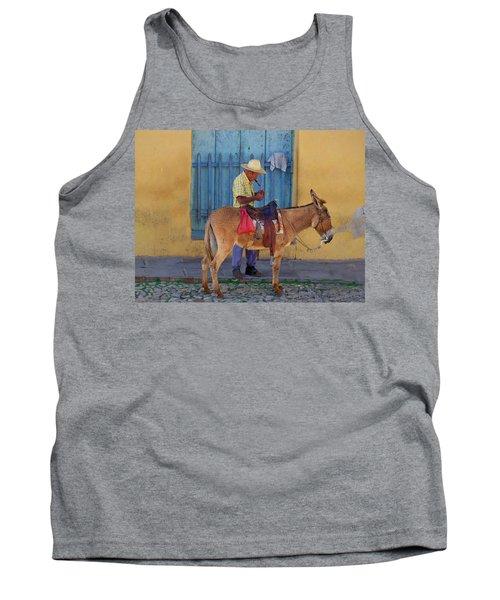 Man And A Donkey Tank Top by Lynn Bolt