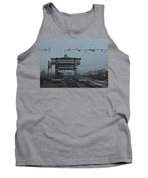 Tank Top featuring the photograph Milan Central Station Italy In The Fog by Andy Prendy