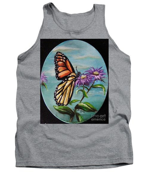 Tank Top featuring the painting Monarch And Aster by Karen  Ferrand Carroll