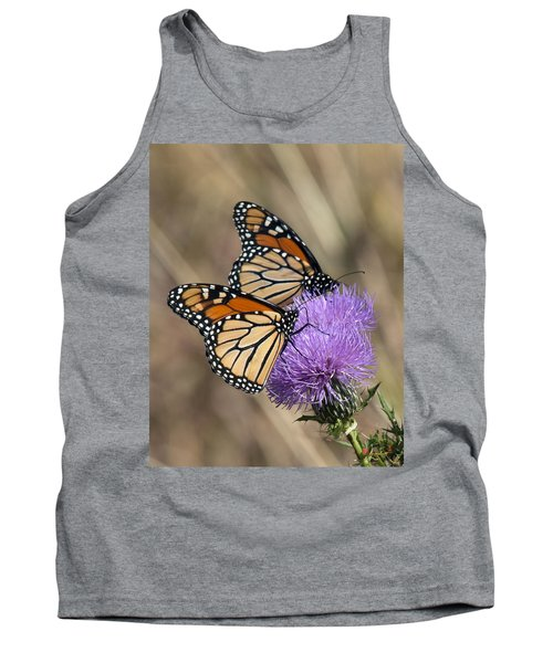 Tank Top featuring the photograph Monarch Butterflies On Field Thistle Din162 by Gerry Gantt