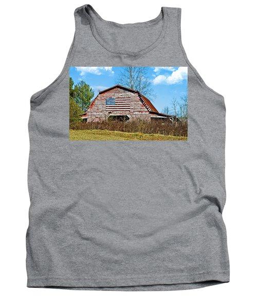 Patriotic Barn Tank Top by Susan Leggett