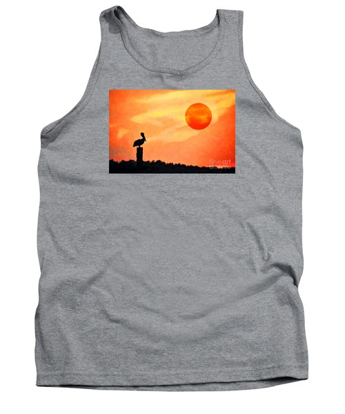 Tank Top featuring the photograph Pelican During Hot Day by Dan Friend