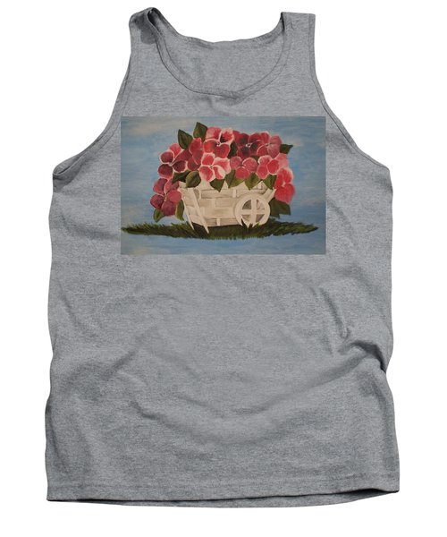 Tank Top featuring the painting Pink Flowers In A Wagon Basket by Christy Saunders Church