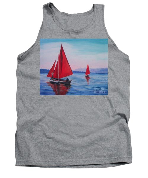 Tank Top featuring the painting Red Sails On Irish Coast by Julie Brugh Riffey