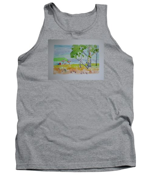 Tank Top featuring the painting Sandpoint Bathers by Francine Frank