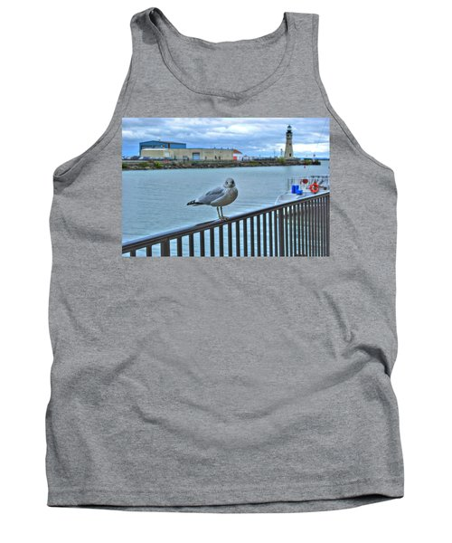 Tank Top featuring the photograph Seagull At Lighthouse by Michael Frank Jr