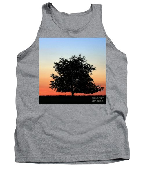 Make People Happy  Square Photograph Of Tree Silhouette Against A Colorful Summer Sky Tank Top