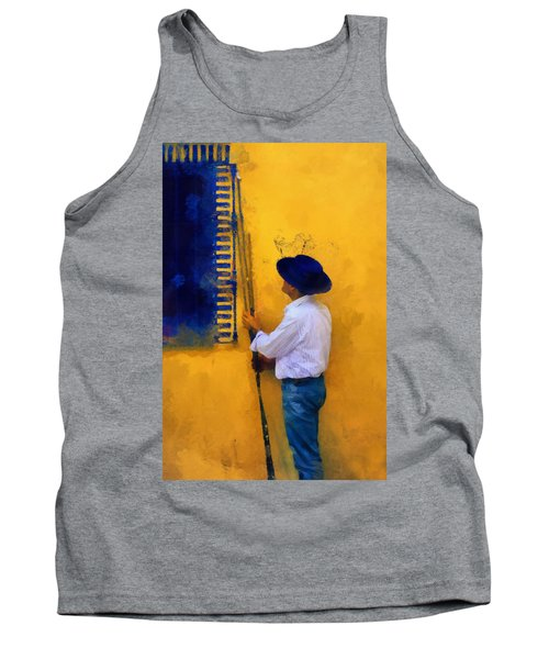 Spanish Man At The Yellow Wall. Impressionism Tank Top