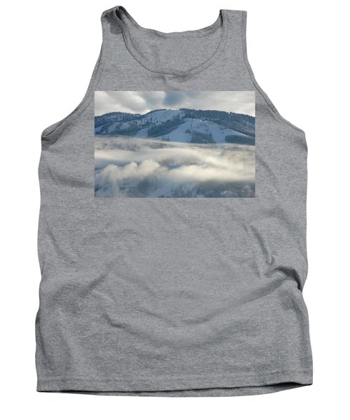 Tank Top featuring the photograph Steamboat Ski Area In Clouds by Don Schwartz
