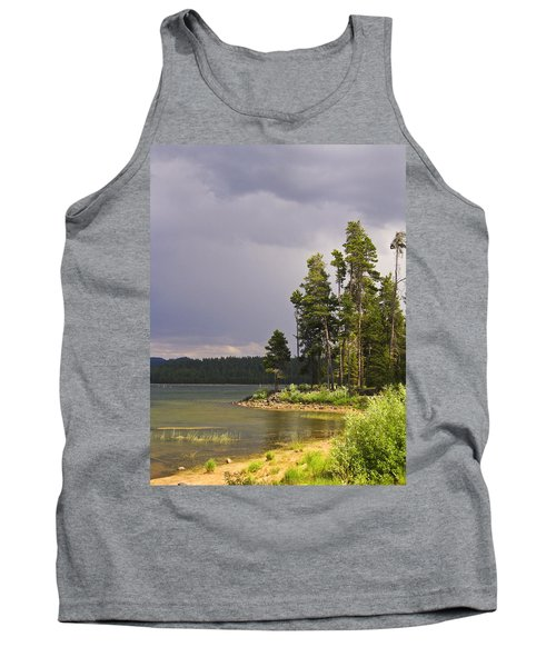Tank Top featuring the photograph Storm Clouds Over A Lake by Anne Mott