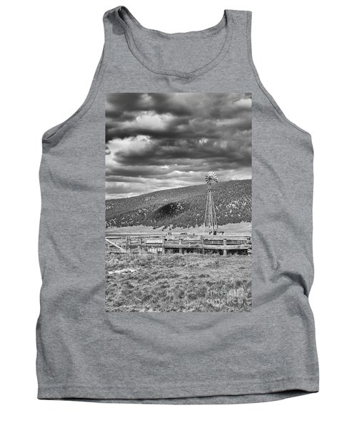 the lonly windmill in B and W Tank Top
