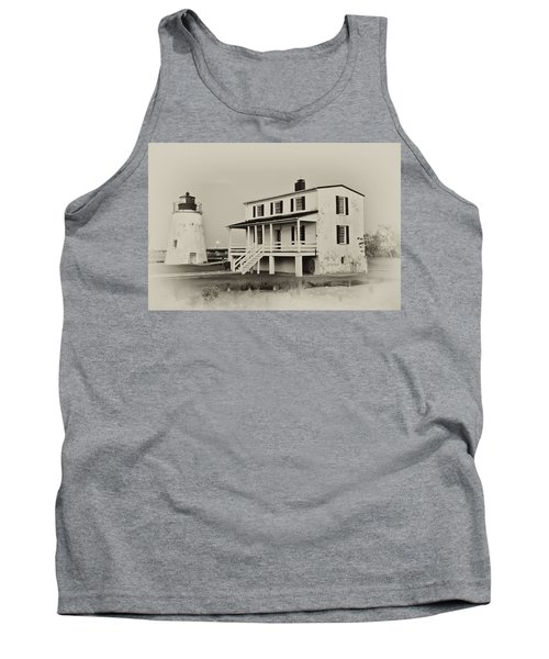 The Piney Point Lighthouse In Sepia Tank Top