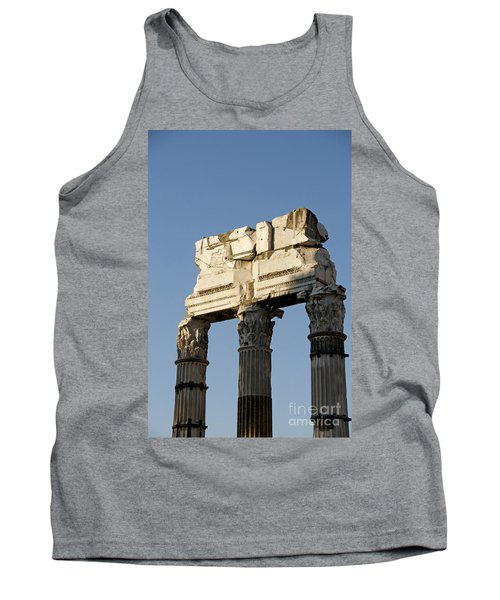 Three Columns And Architrave Temple Of Castor And Pollux Forum Romanum Rome Italy. Tank Top