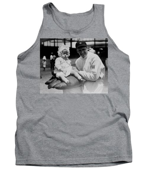 Tank Top featuring the photograph Walter Johnson Holding A Baby - C 1924 by International  Images