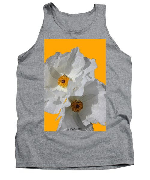 White Poppies On Yellow Tank Top