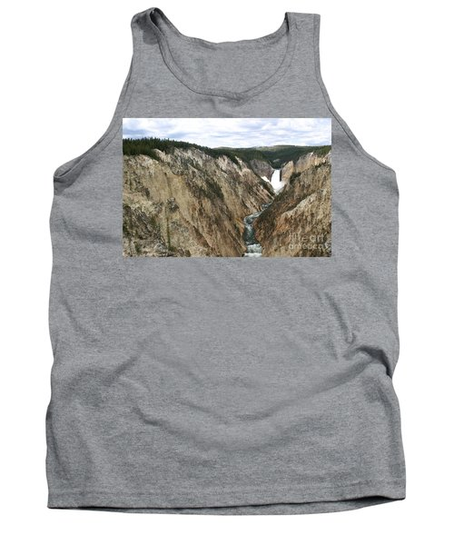 Tank Top featuring the photograph Wide View Of The Lower Falls In Yellowstone by Living Color Photography Lorraine Lynch