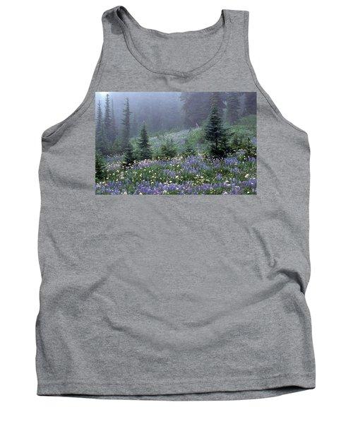 Wildflower Meadow Mt Rainier Tank Top