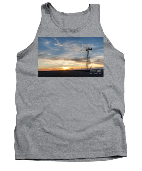 Tank Top featuring the photograph Windmill And Sunset by Art Whitton