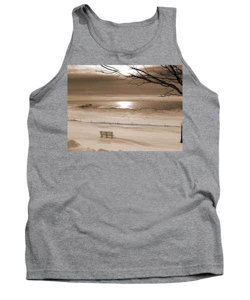 Winter Beach Morning Sepia Tank Top by Bill Pevlor