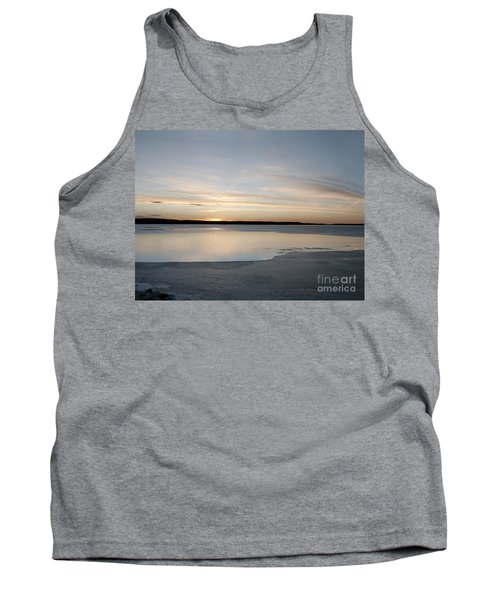 Tank Top featuring the photograph Winter Sunset Over Lake by Art Whitton