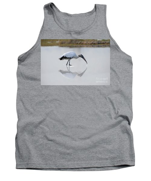 Tank Top featuring the photograph Wood Stork Eating by Dan Friend