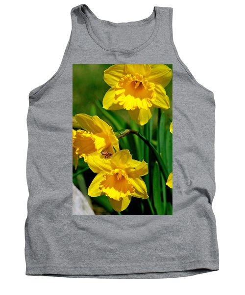 Tank Top featuring the photograph Yellow Daffodils And Honeybee by Kay Novy